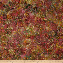 Indian Batik Gypsy Circle Scroll Brown Multi Fabric