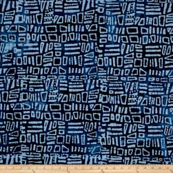 Indian Batik Moody Blues Squares Blue Fabric