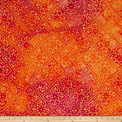 Indian Batik Mirage Patch Orange Fabric