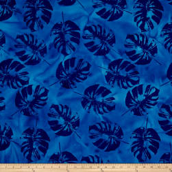 Indian Batik Polynesian Batiks Tropical Leaf Blue Fabric