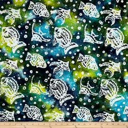 Indian Batik Ocean Grove Fish Olive Blue Fabric