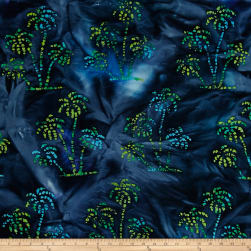 Indian Batik Ocean Grove Palm Trees Navy/Blue/Grn Fabric