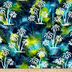 Indian Batik Ocean Grove Palm Trees Aqua/Olive/Blue Fabric