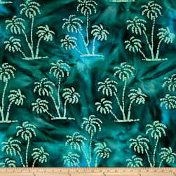 Indian Batik Ocean Grove Palm Trees Green Fabric