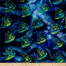 Indian Batik Ocean Grove Sail Boat Navy/Blue/Grn Fabric