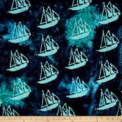 Indian Batik Ocean Grove Sail Boat Navy/Aqua Fabric