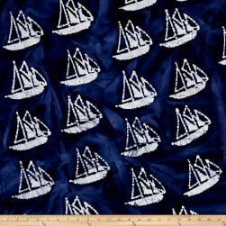 Indian Batik Ocean Grove Sail Boat Navy/White Fabric