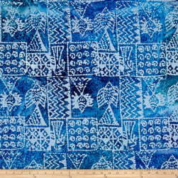 Indian Batik Ocean Grove Island Patch Blue Fabric