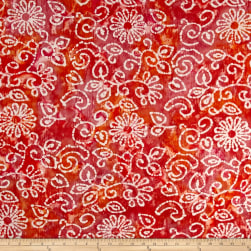 Indian Batik Crinkle Cotton Print Floral Scroll Orange