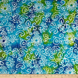 Indian Batik Crinkle Cotton Print Floral Scroll Blue