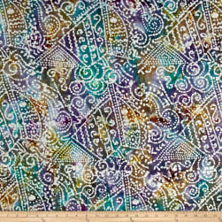 Indian Batik Crinkle Cotton Print Ethnic Patchwork Purple/Teal/Natural