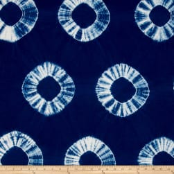 Indian Batik Wind Cave Tie-Dye Circles Navy/White Fabric
