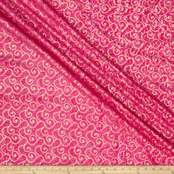 Indian Batik Montego Bay Gold Scroll Fuchsia Metallic