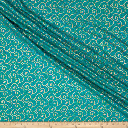 Indian Batik Montego Bay Gold Scroll Jade