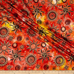 Indian Batik Odyssey Gold Sun Sunset Fabric
