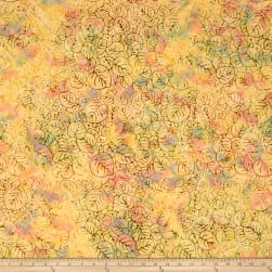 Indian Batik Central Java Lilly Pad Peach/Yellow Fabric