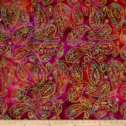 Indian Batik Embroidered Bright Mosaic Paisley  Fuchsia/Purple