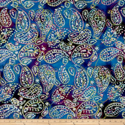 Indian Batik Embroidered Bright Mosaic Paisley  Blue