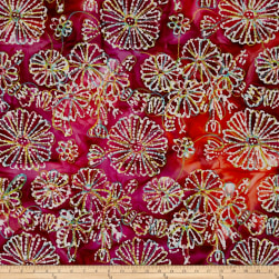 Indian Batik Embroidered Bright Mosaic Floral Fuchsia Fabric