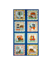 Crafty Cats 23.5'' Panel Blue Fabric