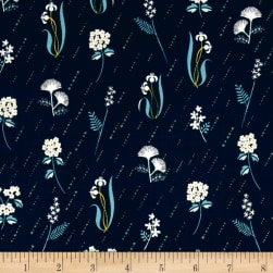 Cotton + Steel Raindrop In Bloom Night Fabric