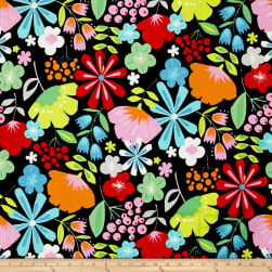 Alexander Henry Everyday Eden Pretty Poppy Black Fabric