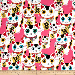 Alexander Henry Indochine Fuku Kitty Pink Fabric