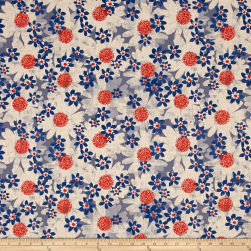 Cotton + Steel Trinket Canvas Daisy Fields Blue Fabric