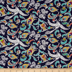 Mary Fons Small Wonders Brazil Digital Print Jungle Pattern Navy