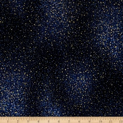 Star Gazing Metallic Flecks Navy/Gold Fabric