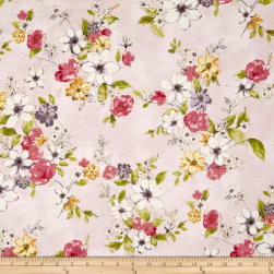 Painted Petals Metallic Painterly Floral Blush/Gold Fabric