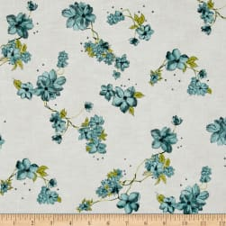 Painted Petals Metallic Petal Vine Dusty Teal/Silver Fabric