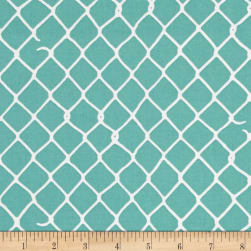 Grafic Chain Link Fence Aqua Fabric