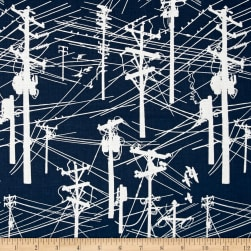 Grafic Power Lines Navy Fabric