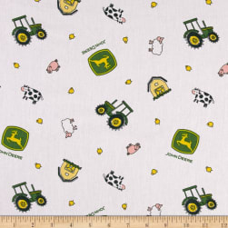 John Deere Nursery Animal Toss White Fabric