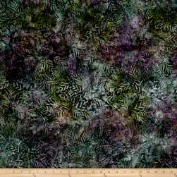 Wilmington Batiks Long Leaves Green/Purple Fabric