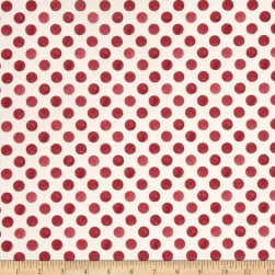 Romantic Afternoon Flannel Dots Ivory/Red Fabric