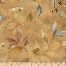 Neutral Nature Leaves Allover Gold Fabric