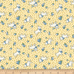 Backyard Pals Dogs And Toys Yellow Fabric