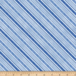 Sew Curious Diagonal Stripe Blue Fabric