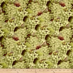 From The Chateau Packed Grapes Green Fabric