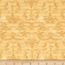 From The Chateau Striped Damask Gold Fabric