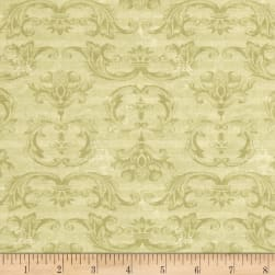 From The Chateau Striped Damask Green Fabric