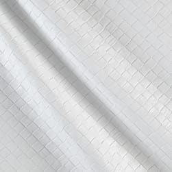 Faux Leather Tile Basketweave White Fabric