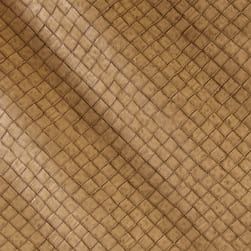 Faux Leather Tile Basketweave Toast Fabric