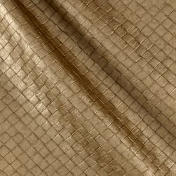 Faux Leather Tile Basketweave Gold Fabric