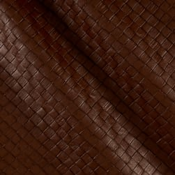 Faux Leather Tile Basketweave Oak Fabric