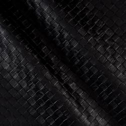 Faux Leather Tile Basketweave Black Fabric