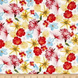 Baby Gone Wild Floral Dark Tomato Fabric