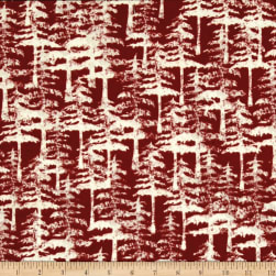 Wilderness Flannel Trees Brick Fabric